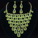 Neat Dangle Teardrop Necklace Earring Jewelry Sets Green Swarovski Crystal