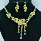 Stunning Green Snake Necklace Earring Set W/ Swarovski Crystals 3168
