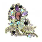 "Cute Purple Flower Brooch Broach Pin 3.1"" W/ Drop Rhinestone Crystals 8804226"