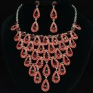 Siam Swarovski Crystal Trendy Dangle Teardrop Necklace Earring Jewelry Sets