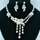 Stunning Clear Silver Tone Snake Necklace Earring Set W/ Swarovski Crystals 3168