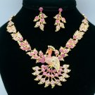 Gold Tone Swarovski Crystals H-Quality Pink Peafowl Peacock Necklace Earring Set