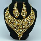 Brown Vogue Flower Necklace Earring Jewelry Sets W/ Rhinestone Crystals 5563