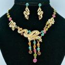 Stunning Multi-color Snake Necklace Earring Set W/ Swarovski Crystals 3168