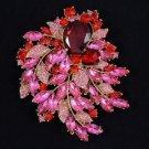 "Vintage Style Red Flower Leaf Brooch Pin 4.1"" W/ Rhinestone Crystals 4672"