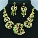 Moon Skeleton Skull Necklace Earring Set W/ Green Swarovski Crystals SNA3175-1