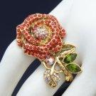 Vintage Style Red Rose Flower Cocktail Ring 8# W/ Swarovski Crystals SR2099-2