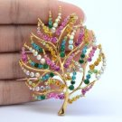 "Exquisite Christmas Tree Brooch Pin 2.5"" W/ Multicolor Swarovski Crystals 67901"