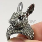 Easter Cute Rabbit Cocktail Ring Size 7# W/ Black Swarovski Crystals SR1842-3