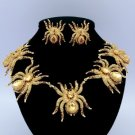 Gold Tone 5 Tarantula Spider Necklace Earring Set w/ Brown Swarovski Crystals