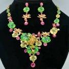 Gorgeous Swarovski Crystals Yellow Lotus Flower Frog Necklace Earring Set SN2917