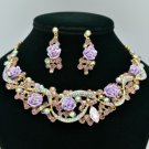 Vogue Purple Acrylic Rose Flower Necklace Earring Set W Rhinestone Crystal 02677