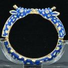 Enamel Blue 2 Giraffe Bracelet Bangle Cuff W/ Clear Rhinestone Crystals L1104