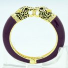 Luxury Purple Enamel 2 Panther Leopard Bracelet Bangle Cuff W Swarovski Crystal