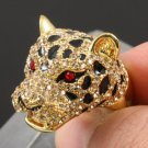Swarovski Crystal H-Quality Brown Leopard Panther Cocktail Ring Size 7# SR1695-1