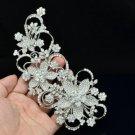 Rhinestone Crystals Tiara Bridal Flower Hair Comb Pieces Wedding 4049FS