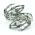 Vintage Style Skeleton Skull Hand Bracelet Bangle w/ Rhinestone Crystal 4 Color