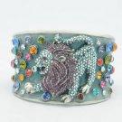 Cool Swarovski Crystals Purple Lion on Blue Enamel Cuff Bracelet Bangle 1972M-3