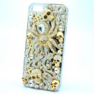 Clear Rhinestone Crystals Skull Snake Spider Cover Case Shell For iPhone 5 5S