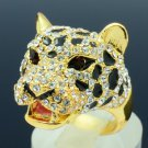 High Quality Animal Leopard Panther Cocktail Ring W/ Swarovski Crystals SR1695-3