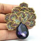"Vintage Purple Flower Broach Brooch Pin Pendant Rhinestone Crystals 2.6"" 6175"