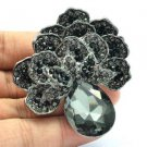 "Vintage Gray Flower Broach Brooch Pin Pendant Rhinestone Crystals 2.6"" 6175"