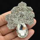 "Clear Flower Broach Brooch Pin Pendant Rhinestone Crystals 2.6"" 6175"
