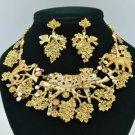 Brown Monkey Leopard Elephant Necklace Earring Set Swarovski Crystal SNA3163