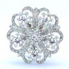 """Bridal Clear Flower Brooch Pin 2.28"""" W/ Rhinestone Crystals Wedding 3609"""