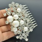 Wedding White Faux Pearl Flower Hair Comb w/ Clear Rhinestone Crystals 4064
