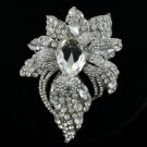 """Rhinestone Crystals Clear Flower Brooch Broach Pin 3.9"""" For Wedding"""