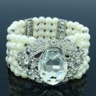 Elastic Faux Pearl Flower Bracelet Bangle W Clear Rhinestone Crystals 5166