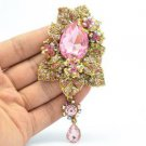 "Pink Flower Leaves Broach Brooch Pin Pendant Rhinestone Crystals 3.9"" 6176"