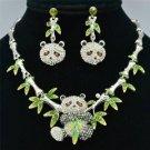 Newness Lovely Bamboo Panda Necklace Earring Set Rhinestone Crystal Animal