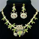 Gorgeous Lovely Bamboo Panda Necklace Earring Set Rhinestone Crystal Animal