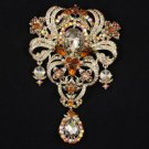 """Huge Dangle Brown Flower Brooch Broach Pin 5.1"""" Rhinestone Crystals"""