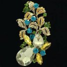 "Vintage Style Leaf Flower Pendant Brooch Pin 3.1"" W/ Rhinestone Crystals 6148"
