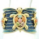 H-Quality Gold Tone Turtle Tortoise Bracelet Cuff Swarovski Crystals SKA1986M-2
