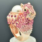 Faux Pearl Ctue Pink Alpaca Llama Cocktail Ring Sz 7# Swarovski Crystal SR2126A