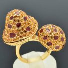 Excellent Cute Brown 2 Mushroom Cocktail Ring Swarovski Crystal Size 7#