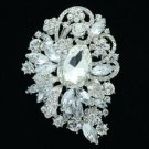 "Bridal Flower Brooch Pin 3.5"" W/ Clear Rhinestone Crystals Wedding 6075"