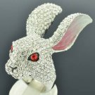 H-Quality Lovely Clear Bunny Rabbit Cocktail Ring Sz 7# Swarovski Crystal SR2139