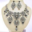 Swarovski Crystals Black Multi Leaves Skull Necklace Earring Set For Halloween