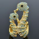 Popular Animal Sea Horse Cocktail Ring Sz 7# W/ Blue Swarovski Crystals SR2111-2
