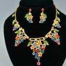 H-Quality Mix Swarovski Crystal Leaf Flower Grape Necklace Earring Set SNA3177-3