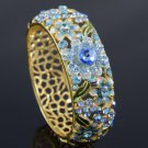 Hi-Q Floral Flower Bracelet Bangle Cuff Blue Swarovski Crystals
