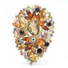 "Chic Drop Brown Flower Brooch Broach Pin W/ Rhinestone Crystals 3.9"" 5952"