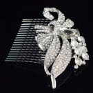 Silver Tone Wedding Bridal Floral Flower Hair Comb W/ Clear Swarovski Crystals