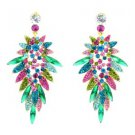 Beauty Multicolor Flower Pierced Earring W/ Rhinestone Crystals 111134