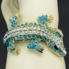 Chic Fashion Blue Crocodile Bracelet Bangle Cuff W/ Swarovski Crystals